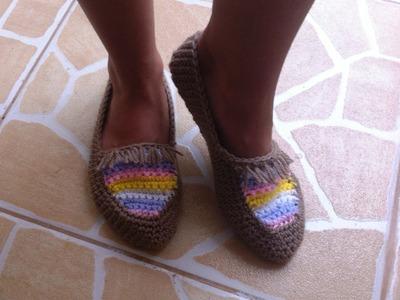 Zapatillas tejidas a crochet super facil para todas las tallas parte 1.2