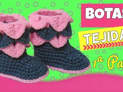 Botas tejidas a crochet con punto cocodrilo |  parte 1.2