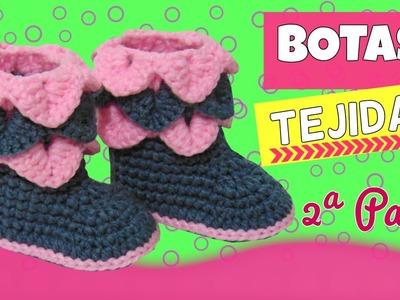 Botas tejidas a crochet con punto cocodrilo |  parte 2.2