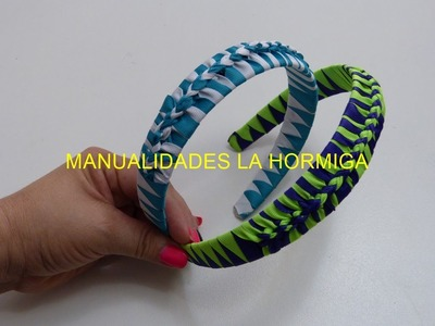 Como hacer Diadema Tejida Nudos Ysabel Pap, # 516, Vinchas doble color trenzadas variedad tejido