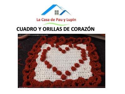 Cuadro con corazón y orilla de corazones tejido a Crochet,  muy fácil
