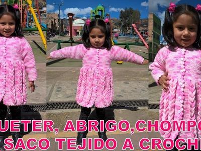 SUETER, ABRIGO, CHOMPON O SACO TEJIDO A CROCHET PARTE 2 DE 2 PASO A PASO EN ESPAÑOL