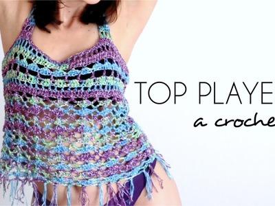 TOP PLAYERO a crochet | BLUSA TEJIDA paso a paso (ENGLISH SUB) - Parte ...