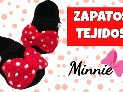 Zapatitos de Minnie mouse tejidos a crochet | 0-3 meses