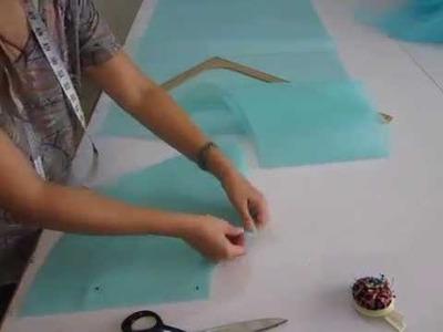 Como hacer una faldilla o crinolina de tul (3) CORTE DEL TUL