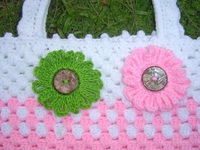Como tejer flor fácil en crochet para decorar con botón tutorial