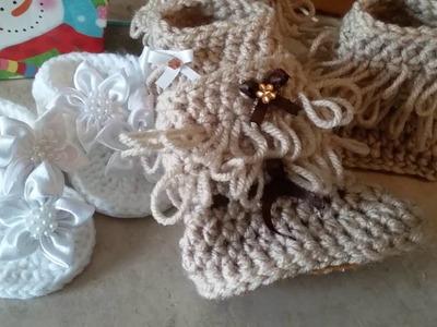 Guaraches, sandalias y botad tejidas para bebe a crochet, ganchillo