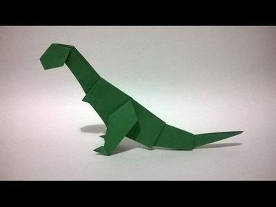 ORIGAMI: DINOSAURIO DE PAPEL - how to make a paper dinosaur
