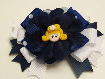 Diy Moños Elegantes lazos con  flores en cinta gros  y  organza,How To Make A Hair Bow