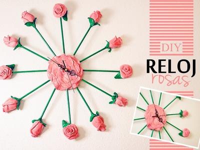 DIY Spring decor - Como hacer un reloj de pared modelando rosas - fácil y barato