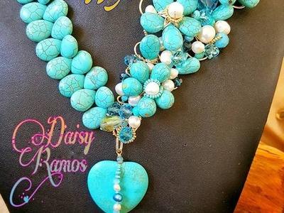 Espectacular Maxi Collar Turquesas y Perlas DIY