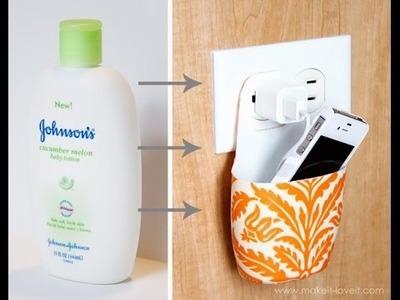 Transforma tu botella de champú vacía en un contenedor DIY para cargar tu celular ♡