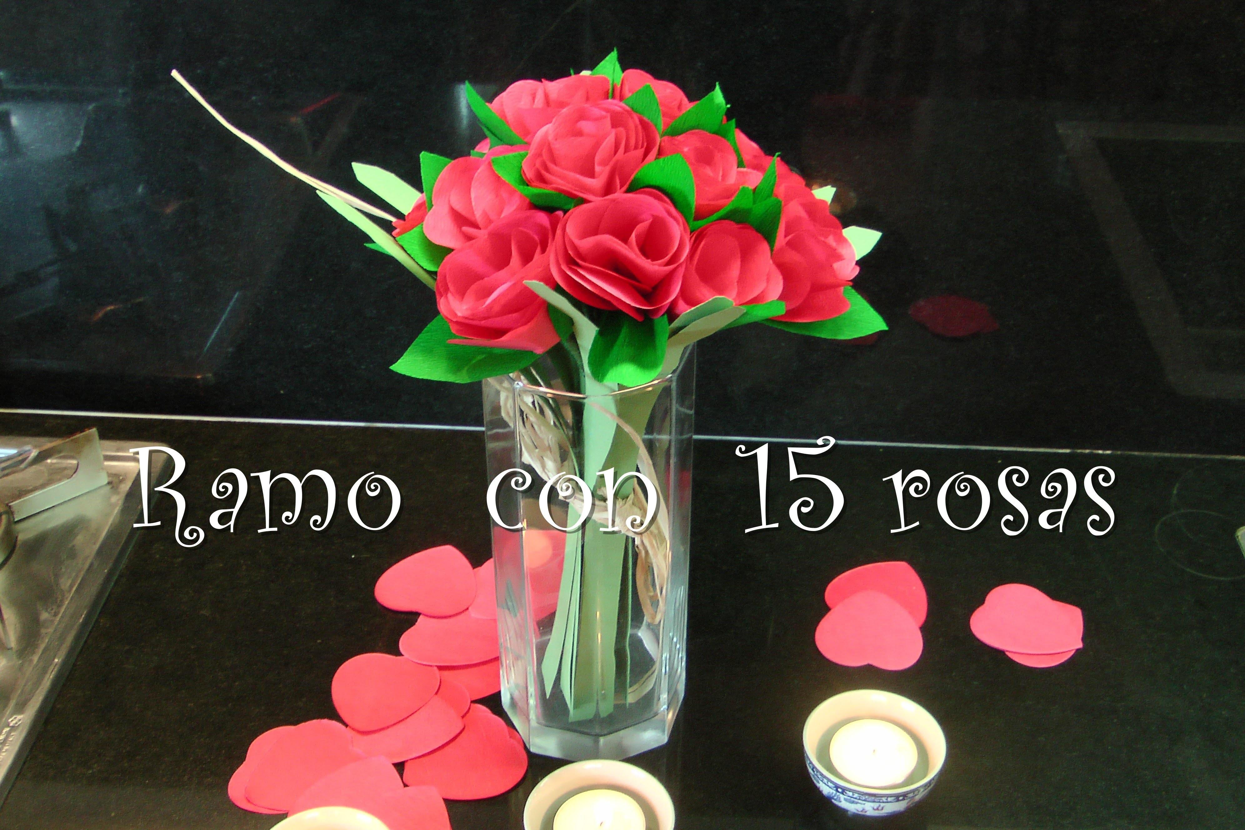 Arreglo Floral Con 15 Rosas Tutorial Rosas De Papel