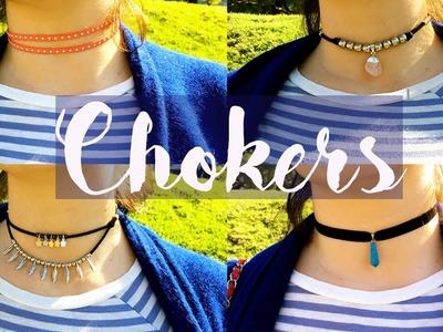 Cómo hacer Chokers - Gargantillas * 4 Modelos muy Fáciles *  Proyecto DIY