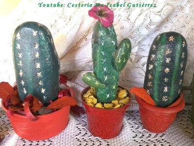 Cómo hacer cactus con piedras. DIY. How to make cactus with stones