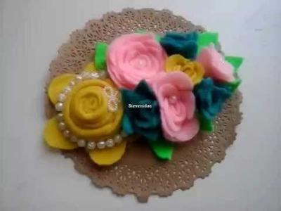 Como hacer flores de fieltro, how to make a tiara, valerina , moños, creactivate manualidades