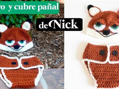 COMO TEJER UN GORRO Y CUBREPAÑAL DE NICK DE ZOOTOPIA HOW TO CROCHET A FOX BEANIE