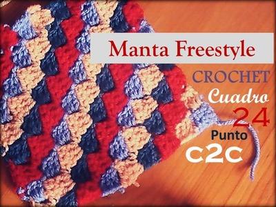 Manta a crochet FreeStyle cuadro 24: punto C2C (diestro)