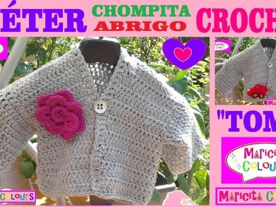 """Suéter Básico, Abrigo a Crochet """"Tomy"""" Tutorial por Maricita Colours"""
