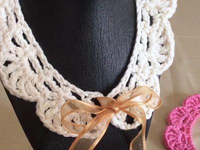 Cómo hacer un Cuello en Punto Abanicos y Punto Red Crochet