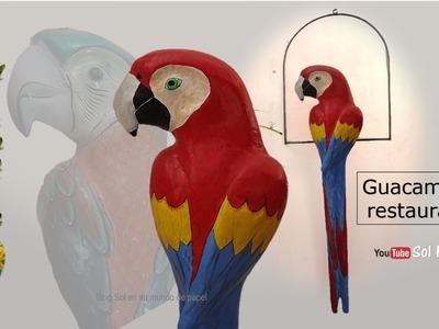 Guacamaya de papel maché restaurada - Guacamaya paper mache restored