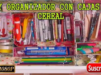 Diy ➢Como hacer un organizador con cajas de cereal.Fácil manualidades con reciclado