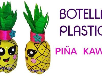 BOTELLA DE PLASTICO RECICLADO EN FORMA DE PIÑA KAWAII -MANUALIDADES