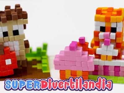 Pixels Pop Juguete de manualidades en miniatura: Figuritas de gato y erizo.