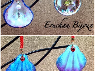 Crea un accesorio con conchas marinas,resina uv y glitter.Tutorial DIY