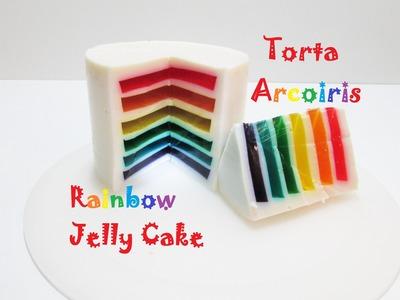Como hacer una Torta Arcoiris de Gelatina I Rainbow Gummy Jelly Cake