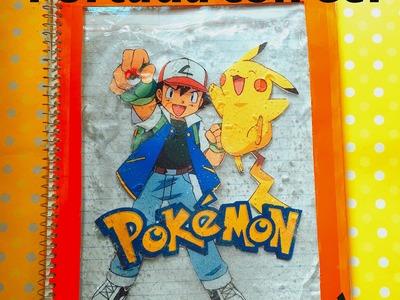 DIY POKEMON GO portada con agua y gel libreta cuaderno decoration notebook with gel