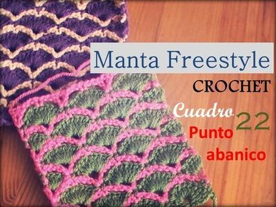 Manta a crochet FreeStyle cuadro 22: punto abanico (zurdo)