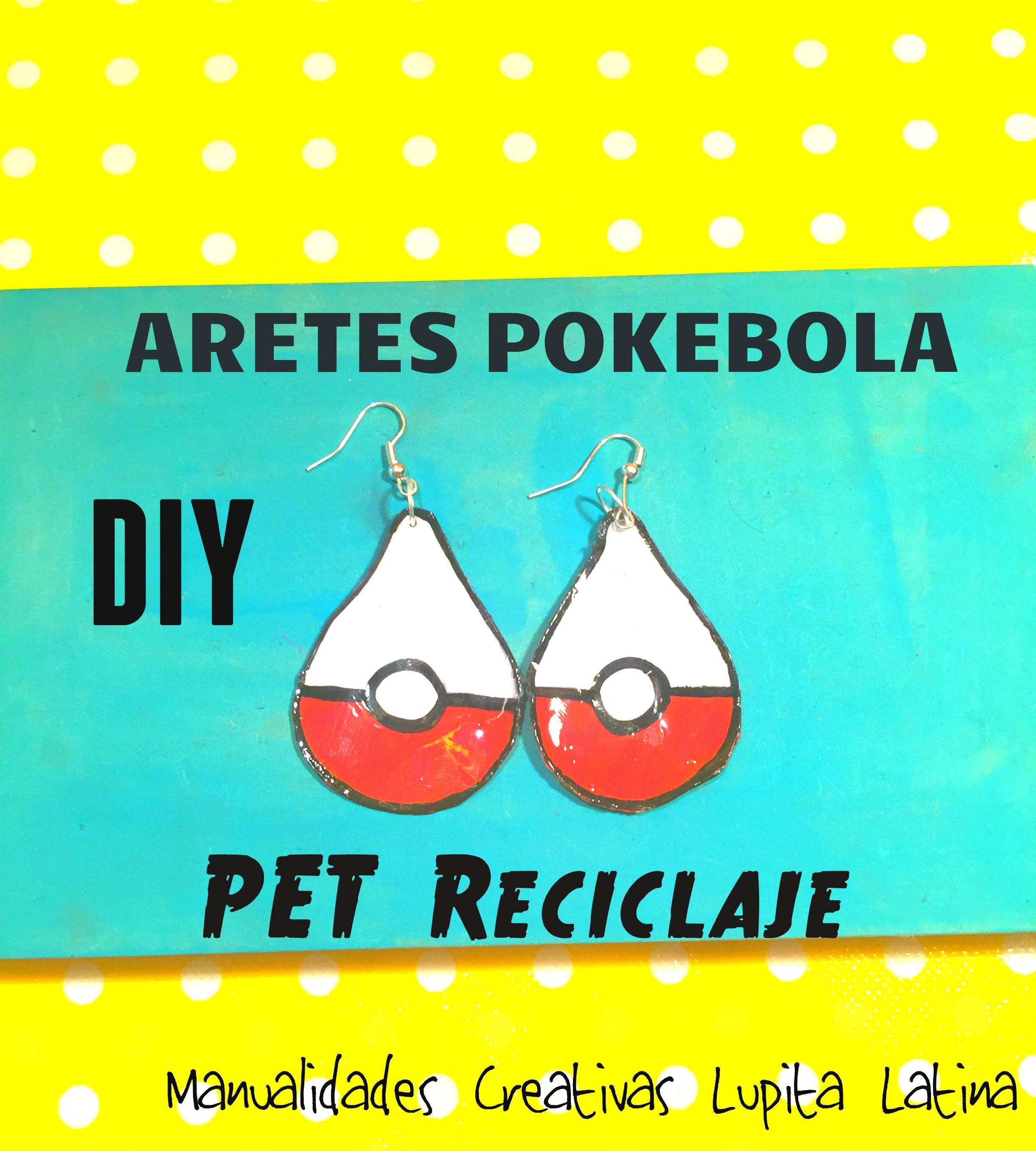 DIY POLEMON POKEBOLA Aretes PET reciclaje Pokebola pet earrings
