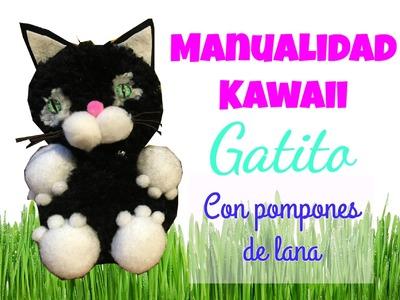 Manualidad ♥ Kawaii ♥  Pom pom Cat DIY