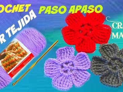 "TUTORIAL"" FLOR TEJIDA PASO A PASO (CROCROCHET PASO A PASO)"