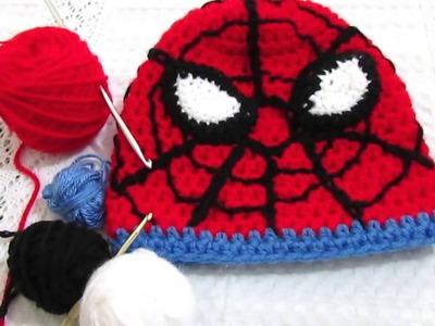 Como hacer un gorro de Spìderman en crochet.2º parte .