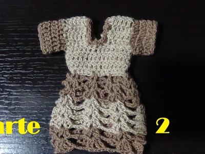 Vestidito en crochet para colgar toallas en la cocina parte 2