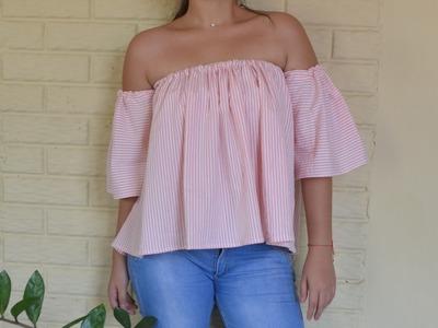 DIY blusa hombros al aire. off the shoulder top