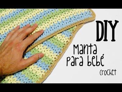 DIY Manta para bebé crochet.ganchillo (tutorial)