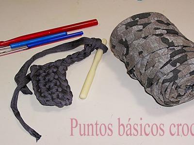 Puntos básicos crochet: nudo inicial, cadenetas, puntos bajo, alto y enano