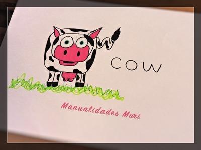 """Como Dibujar una Vaca con la Palabra """"Cow"""" diy for kids"""