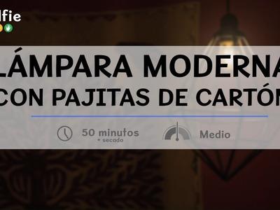 Cómo hacer una lámpara moderna con pajitas de cartón· Handfie DIY
