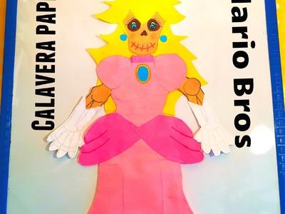 DIY viste calavera de papel Princesa Peach Mario Bros Dia de Muertos decorated paper skeleton