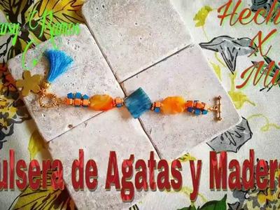 Pulsera de Ágatas y Madera, DIY