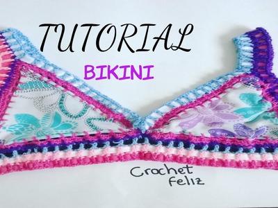 Cómo Hacer un BIKINI a Crochet con Tela - TUTORIAL - Top
