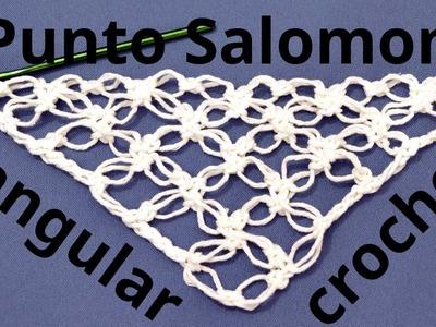 Como tejer el Punto Salomón triangular en tejido crochet o ganchillo tutorial paso a paso.