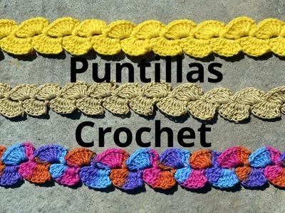 Como tejer Puntilla verticales a crochet o ganchillo tutorial paso a paso.