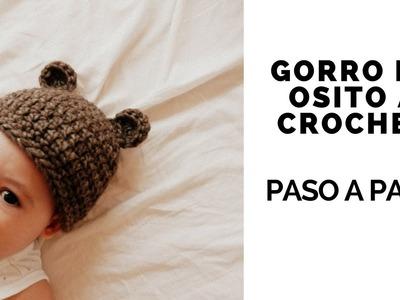 GORRO DE OSITO A CROCHET