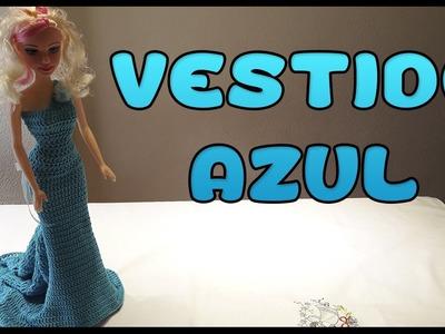 Vestido Azul a crochet para Muñeca