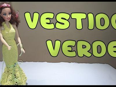 Vestido Verde a crochet para Muñeca